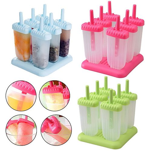 6 Cells DIY Popsicle Molds  Ice Cream Makers Reusable Popsicle Mould For Home Kitchen Tools DIY Food
