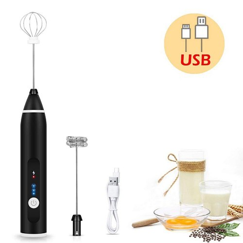 New USB Rechargeable Drinks Milk Frother Foamer Whisk Mixer Stirrer Egg Beater Electric Mini Handle Cooking Tool