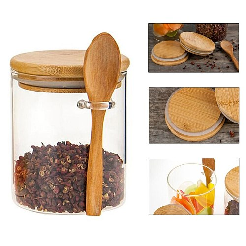 Food Storage Glass Jar Clear Sealed Canister Container with Lid and Spoon for Loose Tea Salt Sugar Coffee Bean Preservat