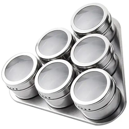 seasoning bottle cup Magnetic Spice Jar stainless steel seasoning pot set household magnetic tank with Stickers kitchen tools