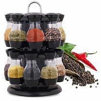 8/16Pcs Rotating Cruet Condiment Seasoning Jars Spices Bottles Storage Shakers Holder Kitchen Salt Sprays Organizer Pepper