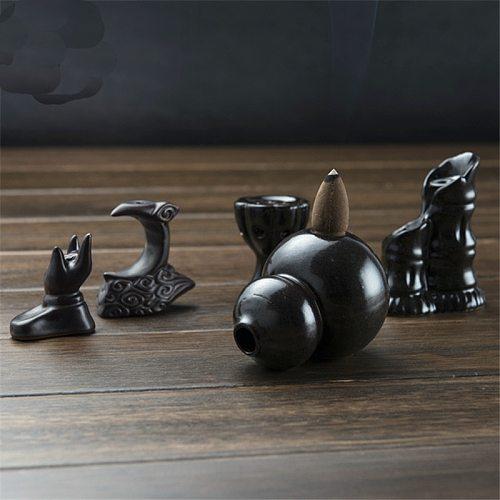 Mini Gourd Lotus Incense Burner Holder Buddhist Cones Backflow Censer Craft Gifts New Ceramic Glaze Incense Holder
