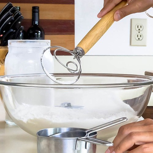 Wooden Handle Egg Whisk Kitchen Accessories Flour Coil Stirrer Egg Beater Rotary Egg Mixer Stick Baking Tool для кухни cuisine