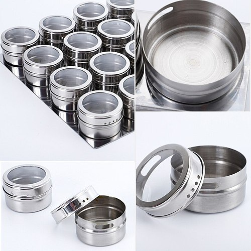 Magnetic Spice Jar Sealed barbecue storage box powder box stainless steel Wall-mounted seasoning tank set with stickers hot sale
