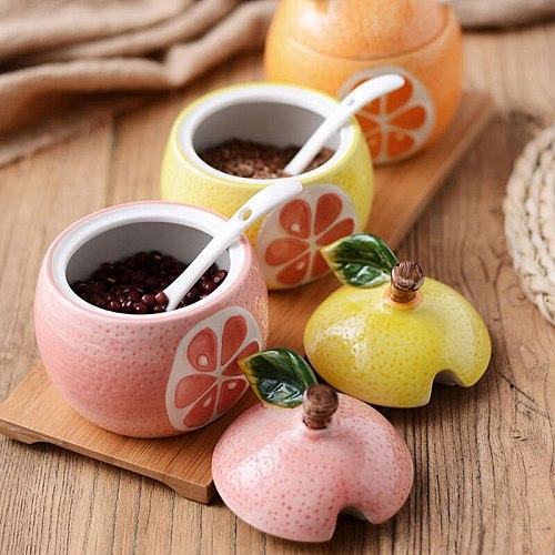 New Ceramic Fruit Seasoning Pot Creative Tropical Fruit Shape Storage Tank Combination Cute Home Kitchenware Spice Jar withSpoon