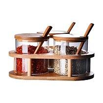 Gl Seasoning Jars Set Seasoning Storage Can,Condiment Pot with Bamboo Spoon and Lid Kitchen Storage Organizer