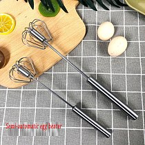 Semi-automatic Mixer Egg Beater Manual Self Turning 304 Stainless Steel Whisk Hand Blender Egg Cream Stirring Kitchen Tools