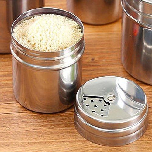Stainless Steel Cruet Condiment Spice Jar Set Salt Pepper Shaker Seasoning Pot Portable Seasoning Can Tank Cooking Kitchen Tools