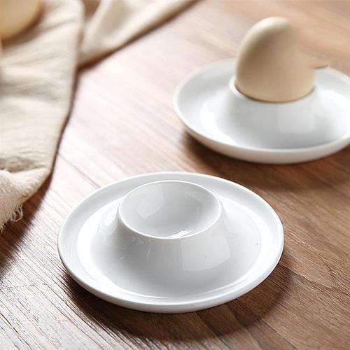 2pcs Ceramic Egg Cup Simple Breakfast Egg Holder Home Egg Stand Egg Rack Home Kitchen Restaurant (White)