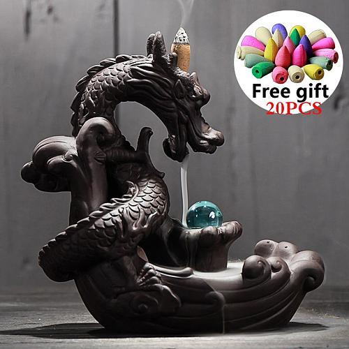 High Quality Zen Incense Smoke Waterfall Backflow Incense Burner Holder Mountain River With 50 Cones Crystal Ball For Home Decor
