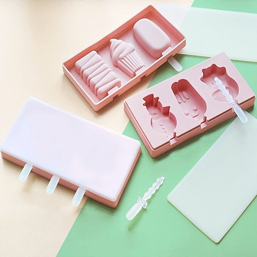 Silicone Ice Cream Mold with Lid Animals Shape Jelly Mold Children Handmade DIY Dessert Popsicle Ice Grid with Popsicle Stick
