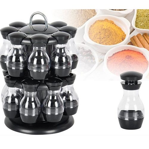 Rotating Cruet Condiment Seasoning Jars Set for Spices Pepper Sprays Bottles Salt Shakers Holder Kitchen Storage Rack Organizer