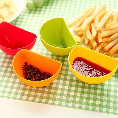1PCS Kitchen Food Sauce Dish Salad Tomato paste Sauce Dishes Kitchen Clip Bowl Dip Small Clip Seasoning Dish Plate