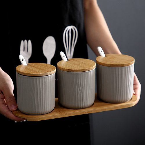 Nordic Seasoning Jar Set Pepper Salt  Cruet Containers Storage Condiments Spice Rack