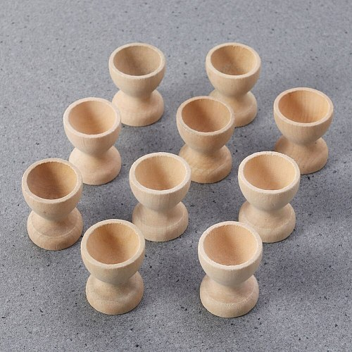 12pcs Wooden Egg Holder Household Kitchen Eggs Holding Cups Tabletop Refrigerator Egg Tray Container Wood Storage Holders(Wooden