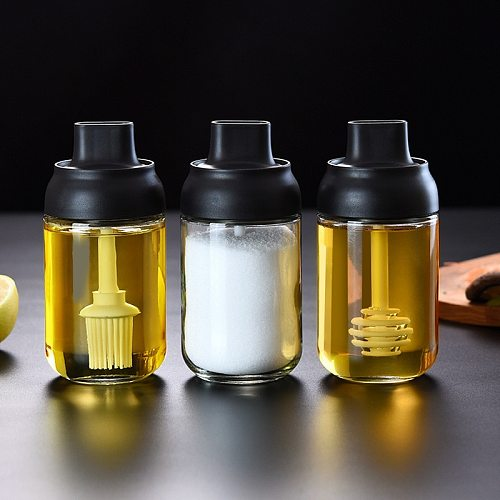 250ml Spice Jar Spice Bottle Salt Pepper Jar Seasoning Jar Moisture-proof Lid Spoon Seasoning Container Kitchen Seasoning Bottle