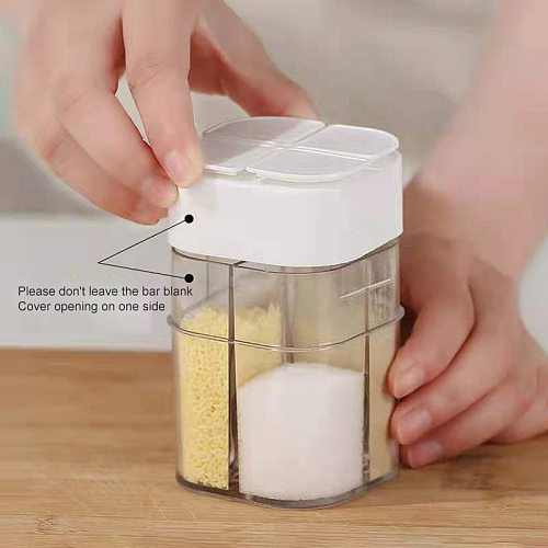 Household 4 In 1 Salt And Pepper Shakers Spice Organizer Container Plastic Container Canister Kitchen Spice Jar Kitchen Gadget
