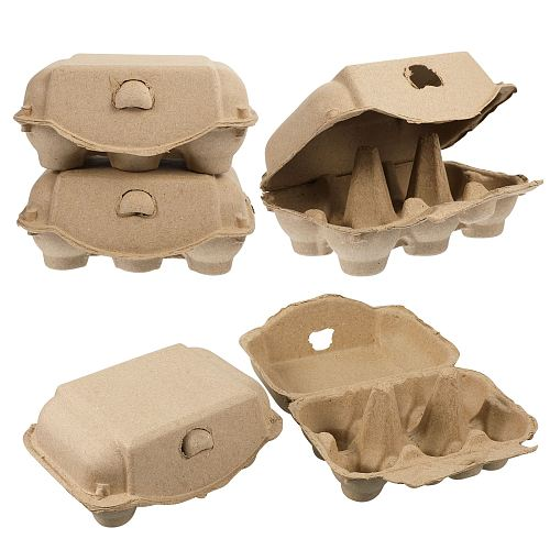 5pcs Egg Cartons 6 Eggs Holder Paper Pulp Egg Storage Trays Egg Containers for Home Kitchen Restaurant