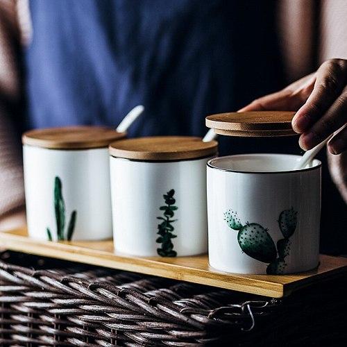 Green Plant Ceramic Seasoning Pot Household Seasoning Condiment Bottle Salt Pepper Cruet Kitchen Supplies