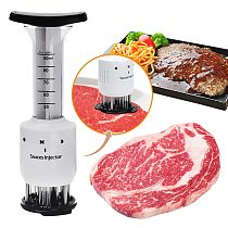 2-in-1 Professional Meat Tenderizer Marinade Injector BBQ Meat Steak Beef Sauce Tenderizer with Stainless Steel Needle