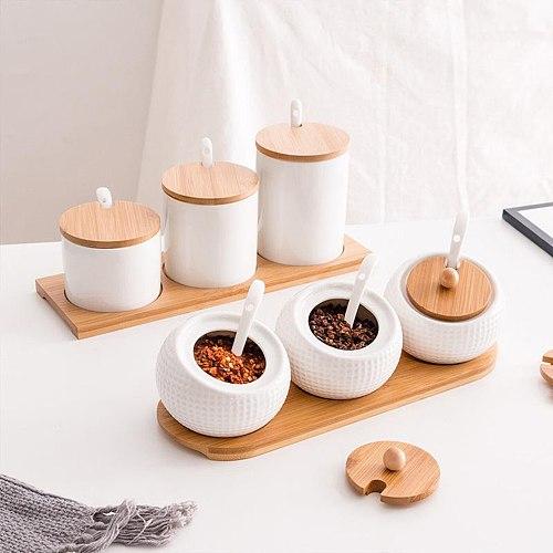 3-Piece Seasoning Spice Pots Coffee Storage Canister Condiment Jar Kitchen Cruet Set