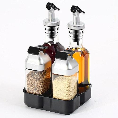 Glass Seasoning Jar Kitchen Supplies Oil Pot Glass Creative Solid Liquid Seasoning Box Seasoning Bottle Set Spice Container