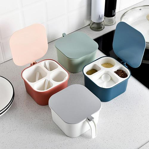 4 Division Grids Seasoning Box Salt Pepper Storage Container with Spoons Kitchen Cooking Gadget Supplies