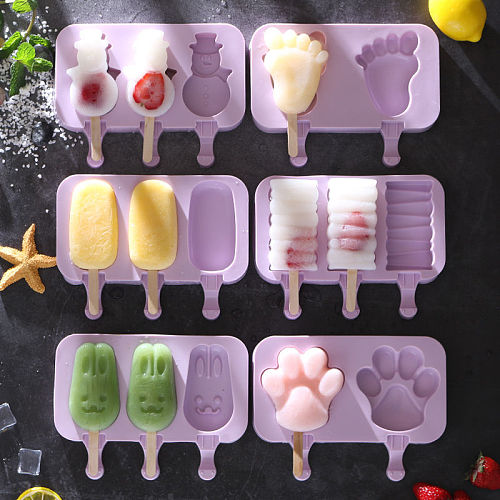 SILIKOLOVE Homemade Cartoon Silicone Ice Cream Molds Ice Lolly Moulds Freezer Ice Cream Bar Molds Maker with Popsicle Sticks