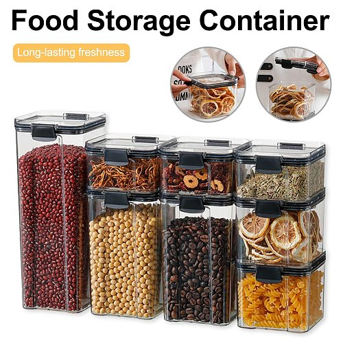 500/1100/1800ml Food Storage Container Kitchen Pantry Organizer Locked Airtight Lid Stackable Canister for Flour Sugar Cereal