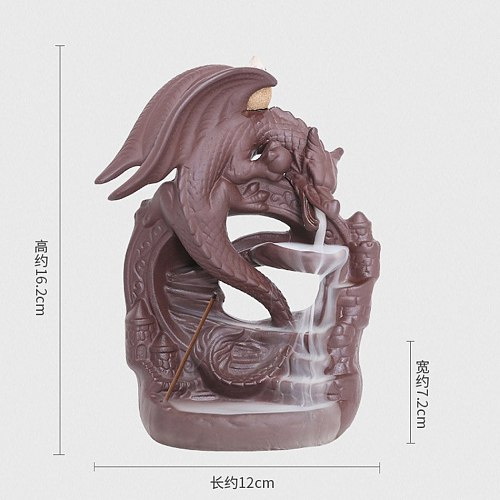 Ceramic Dragon Backflow Incense Burner Smoke Incense Waterfall Censer Dragon Incense Stick Holder Home Decor + 20pcs Cones