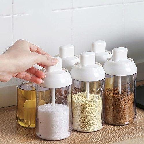 Japan Spice Jar Plastic Condiment Bottles with Spoon Kitchen Seasoning Salt Oil Honey Container Home Paprika Garlic Storage Box