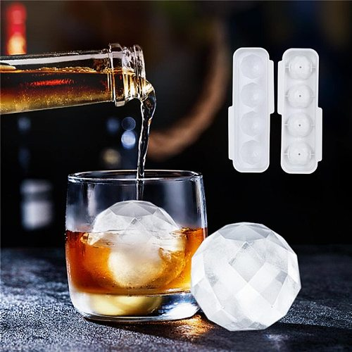 4-Cavity Ice Cube Maker Chocolate Mould Tray Ice Cream DIY Tool Whiskey Wine Cocktail Ice Cube 3D Silicone Mold