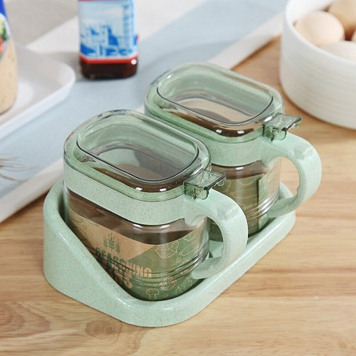 3-in-1 Glass Seasoning Jar Kitchen Supplies Wheat Straw Seasoning Box Wall-mounted Glass Cruet Seasoning Jar Set Pepper Sprayer