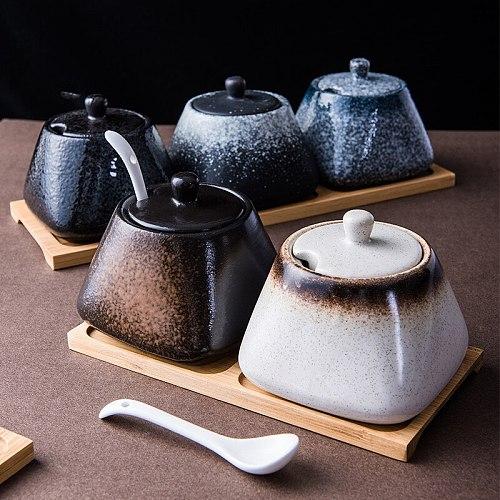 Japanese Retro Seasoning Jar Set Household Condiment Box Salt Shaker Sugar Bowl Kitchen Storage Container Spice Jar Sauce Dish