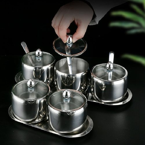 Modern Stainless Steel Spice Jar Spice Salt Sugar Container Pepper Jar Tool Condiment Pot with Spoon Restaurant Kitchen Supplies