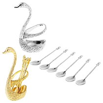 Kitchen Utensil Set with Holder - 6 Piece Spoons with Decorative Swan Base