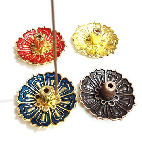 Hot Sale 9-Hole Lotus Incense Candle Holder Flower Copper Censer Plate For Sticks Cone Decor Incense Burner Holder For Stick