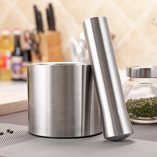 304 Stainless Steel Spice and Nut Grinder with Pestle Pepper Grain Herb Mill Weed Garlic Mortar Kitchen Tools Accessories
