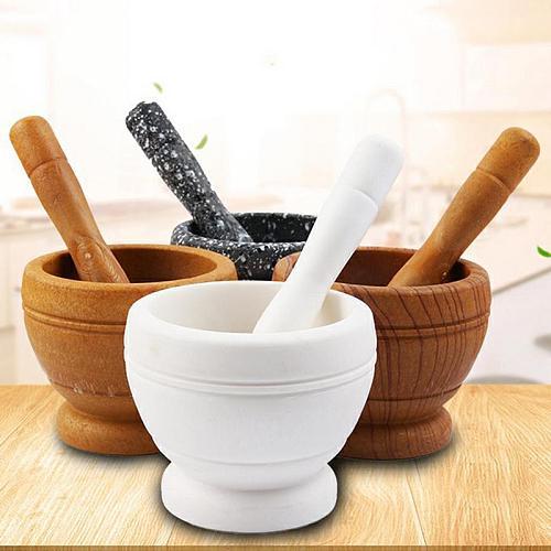 Mortar+Pestle Set Herbs Spice Grinder Bowl Garlic Food Mill Crusher Press Masher Grinder Pharmacy Mixing Grinding Bowl New
