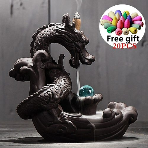 With 10Cones Free Gift Waterfall Ceramic Incense Burner Room Decor Dragon Figurine Holder Tobacco Heater Mixed Collectibles