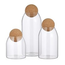 3Pcs Transparent Glass Storage Tank Borosilicate Glass Sealed Cans Grains Container Storage Jar with Cork for Kitchen