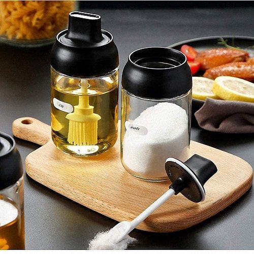 Olive Oil Glass bottle dispenser Spice Bottles Jars Seasoning Spoon Oil Brush Honey Lid Seal Sauce Kitchen Storage Organization