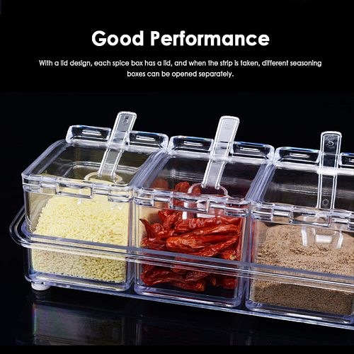 Seasoning Rack Spice Pots Box Storage Crystal Clear Seasoning Box Acrylic Spice Rack Container Condiment Jar Kitchen Accessories