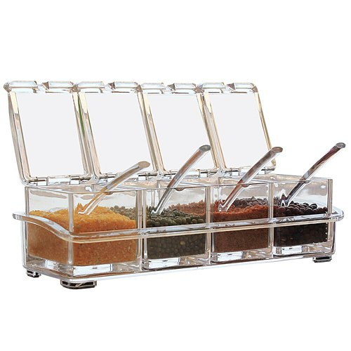 Seasoning Rack Spice Pots Spice Jars Transparent Kitchen Spice Jar With 4 Serving Lids Spoons Spice Bottle Seasoning Box Set