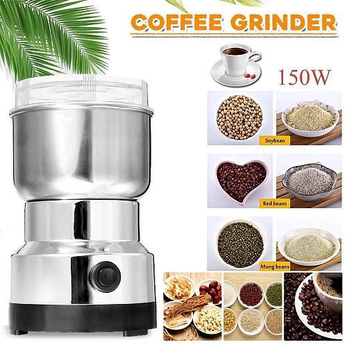 Electric Coffee Grinder Steel Coffee Mill Grind Nut Soy Seasoning UK US AU EU Plug