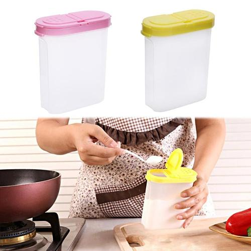 250ml Clear Seasoning Cans Spice Jar Rack 2 Lid Condiment Bottle Jar Salt Pepper Shaker Box Storage Container Kitchen Accessory