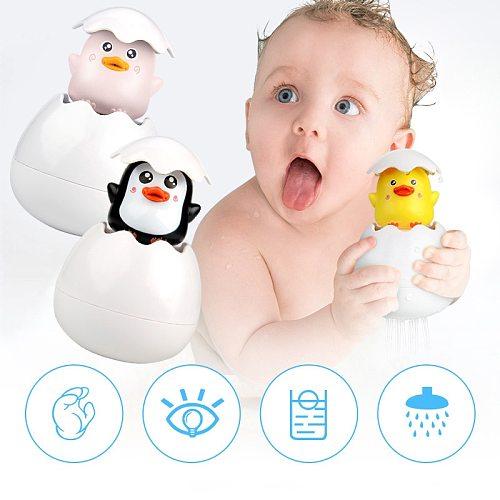 New Shower Baby Toys Cute Duck Penguin Egg Bath Toys Water Spray Sprinkler Bathroom Sprinkling Swimming Toddler Toys