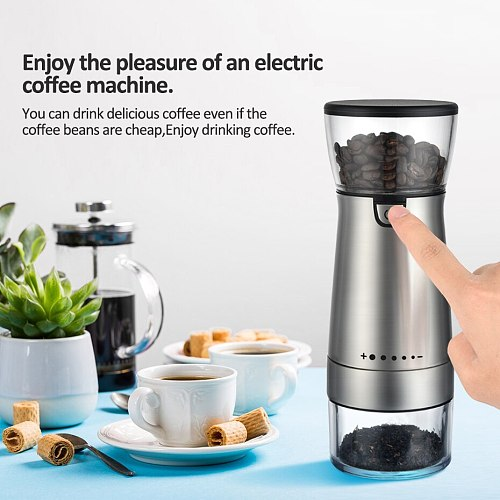 Electric Coffee Grinder USB Charging Coffee Grinding Machine Nuts Beans Spices Grains Pepper Grinding Automatic Kicthen Grinder