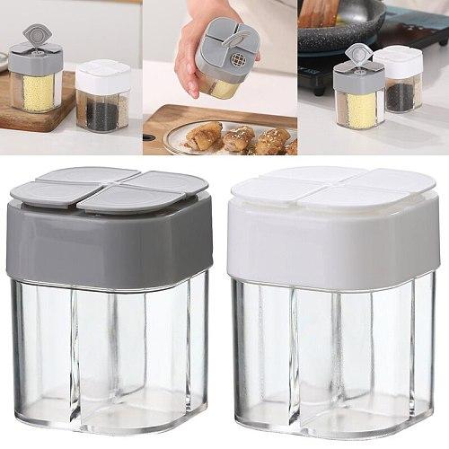 Four In One Spice Organizer Kitchen Spice Jars Set Storage Boxes  Seasoning Jar Transparent Sugar Salt Bottle Kitchen Accessorie