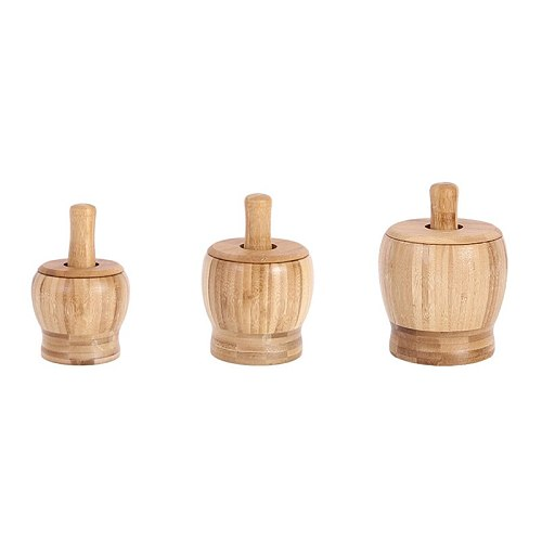 Bamboo Wood Mortar and Pestle Set with Lid Spoon Grinder Press Crusher Masher for Pepper Garlic Herb Spice TB Sale